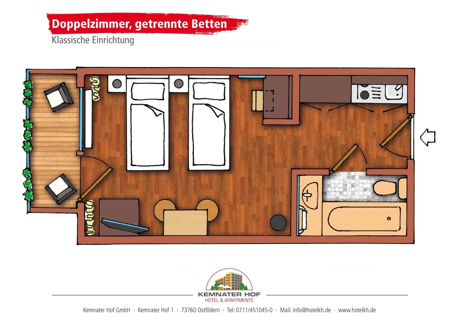 Kemnater Apartments: Double Room separated Beds